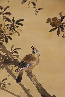 "JAPANESE HANGING SCROLL ART Painting ""Bird"" Asian antique  #E1203"
