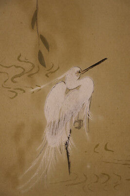 "JAPANESE HANGING SCROLL ART Painting ""White egret"" Asian antique  #E1211"