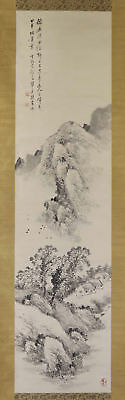 JAPANESE HANGING SCROLL ART Painting Sansui Landscape Asian antique  #E1206