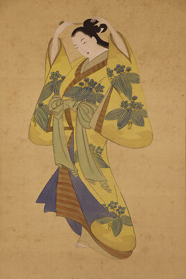 "JAPANESE HANGING SCROLL ART Painting ""Beauty"" Asian antique  #E1212"