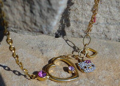 golden color metal pink rhinestone crystal hello kitty necklace sanrio