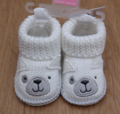 Carter's Just One You Baby Boy Knitted Booties ~ White & Gray ~ Size Newborn ~