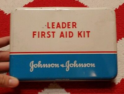Vintage Johnson & Johnson LEADER First Aid Travel Kit Tin Container- I ❤ Offers!