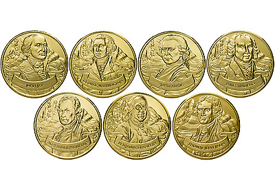 Founding Fathers 24-karat Gold-coated Coin Collection Set of 7 Medallion C3787