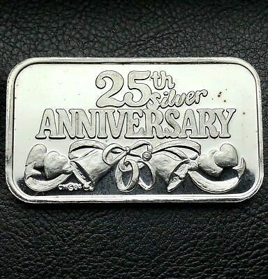 25th Silver Anniversary 1 oz .999 Fine Silver Bar 1984 Vintage CM Mint (6722)