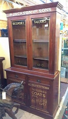 Antique Victorian Sign Painted Haberdashery Shop Display / Bookcase