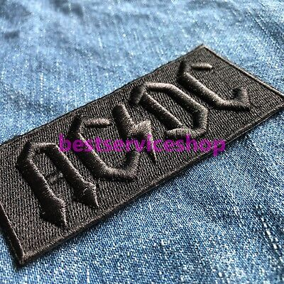 3D AC/DC Stealth Black Logo Symbol Rock Band Embroidered Iron Sew On Patch Badge