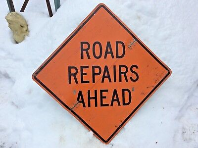 """Vintage ROAD REPAIRS AHEAD 30"""" x 30"""" Metal Hinged Folding Construction Sign"""
