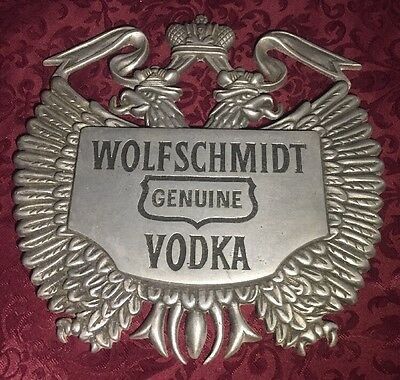Wolfschmidt Vodka Vintage Die Cast Metal advertising sign, Seagrams Distillery