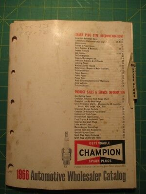 1966 Champion Spark Plugs Automotive Wholesaler Parts Catalog and Marine Chart