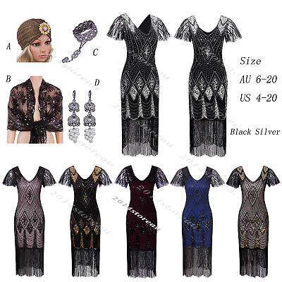 578d993d3f4e Vintage Charleston 1920s Flapper Dress Great Gatsby 20s Party Prom Sequin  Beaded