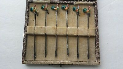VINTAGE English ¿Sterling? Hallmark 6 Color Enamel Roster Olive Picks Box AMNORA
