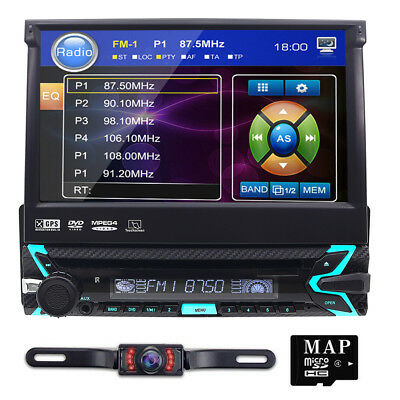 1Din Car DVD Player GPS Navi 7'' Autoradio Bluetooth Stereo Audio MP5 MP3 USB/SD