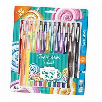 """Paper Mate """"Candy Pop"""" Flair Felt Tip Pens Limited Edition 24 Pack w/New Colors"""