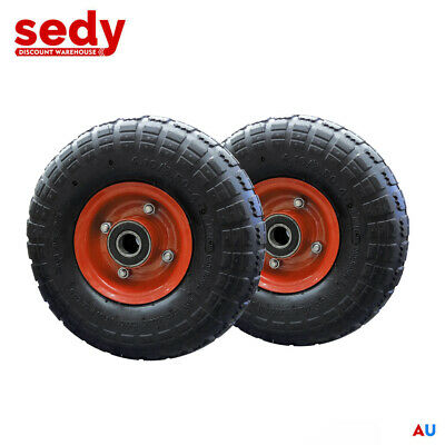 "2x 10"" Wheelbarrow Wheel 3.5-4 Barrow Mower Trolley Trailer Pneumatic 19mm Bore"