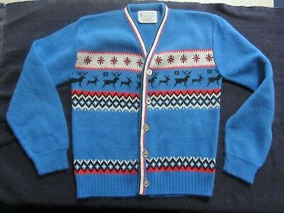 vintage towncraft boys girls button up sweater size 10 acrylic deer pattern