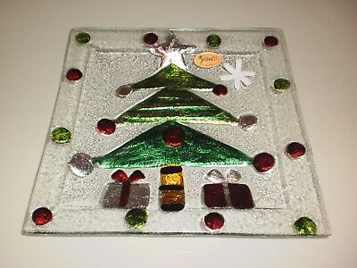 Rikaro Hand Made Art Glass  Christmas Tree Square Plate