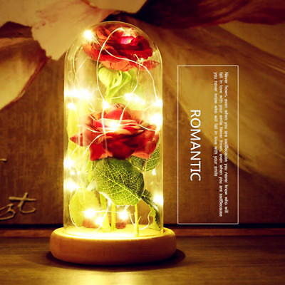 Beautiful Red Rose Glass Dome Lamp Wooden Base For Mother's Valentine's Day Gift