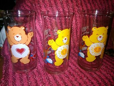 1983 Vintage Pizza Hut American Greetings Set of 3 Care Bear Drinking Glasses