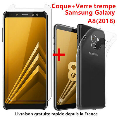 Samsung Galaxy S9 A8 2018 Coque Housse Tpu + Film Verre Trempe Ecran Protection