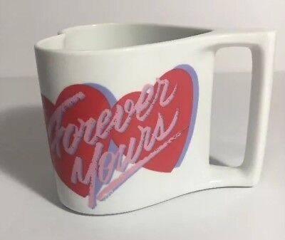 Avon Forever Yours Heart Shaped Coffee Mug Cup Valentines Day Red Hearts Vintage