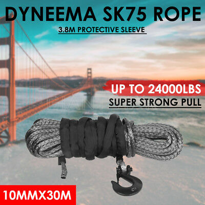 Dyneema SK75 10MM X 30M Winch Rope Synthetic Car Tow Recovery Offroad 4WD Cable