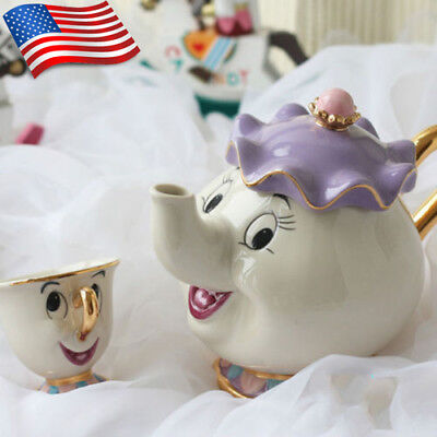 Beauty And The Beast Teapot Cartoon Mug Mrs Potts Chip Tea Pot & Cup Set Gift