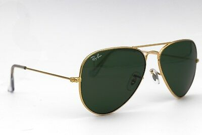 Ray-Ban Classic Aviator 58mm Sunglasses RB3025 Large Metal Gold Frame G-15 Lens