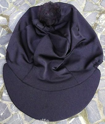 Lycra Riding Hat Silk skull cap cover PLAIN BLACK with or withot Pompom