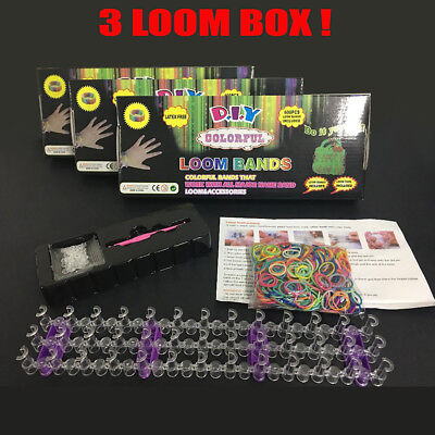 3x Loom Bands Box Kit Sets 1800 Loom Bands  Boards Tool Sets DIY-AU