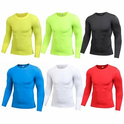 AU Mens Compression Long Sleeve Under Shirt Base Layer Tight Tops Sports T-Shirt