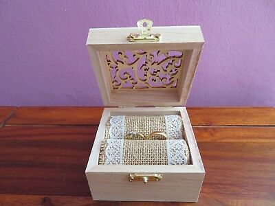 Wedding ring box, Wooden Rustic Vintage  ring Box, Hessian Burlap Pillow