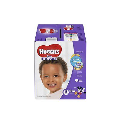 HUGGIES Little Movers Diapers, Size 6, For over 35 lbs., Box of 104 Baby Diapers