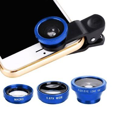 3 in 1 Clip On Camera Lens Kit Wide Angle Fish Eye Macro For Smart Phone-Blue