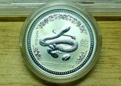 2001 Australia Lunar Year of the Snake - 1/2oz 999 pure silver coin