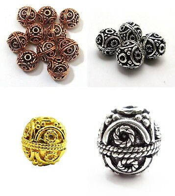 Antique Sterling Silver Plated 18K Gold Plated Bali Bead 8Mm 10Mm 12Mm 13Mm B 24
