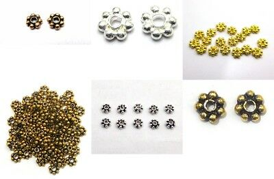 Sterling Silver Plated Gold Plated Handmade Solid Copper Bali Daisy Spacers