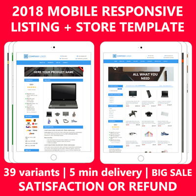 Ebay Shop Store Design & Listing Auction Complete Template Templates Mobile 2019