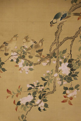 "JAPANESE HANGING SCROLL ART Painting ""Bird and Flower"" Asian antique  #E1241"