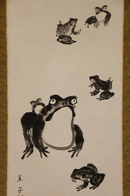 "JAPANESE HANGING SCROLL ART Painting ""Frog, Kaeru""  #E1230"