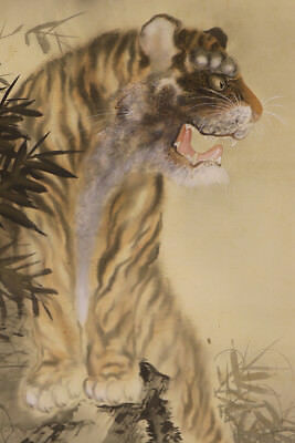 "JAPANESE HANGING SCROLL ART Painting ""Tiger"" Asian antique  #E1232"