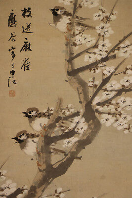 "JAPANESE HANGING SCROLL ART Painting ""Sparrows"" Asian antique  #E1221"