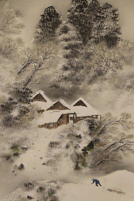 JAPANESE HANGING SCROLL ART Painting Winter scenery Asian antique  #E1222