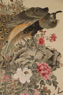 "JAPANESE HANGING SCROLL ART Painting ""Peacock"" Asian antique  #E1235"