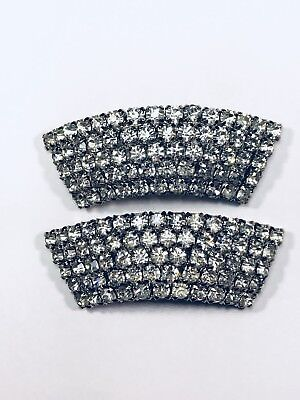 MUSI Crystal Clear Rhinestone Boot Shoe Designer Signed Charm Accessory Clips