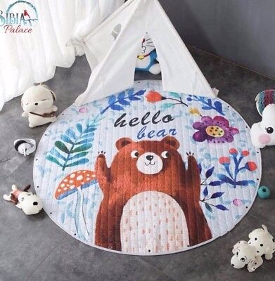 Baby Round Carpet 150cm Playing Mat Floor Crawling Pad Rug Cotton Hello Bear Kid