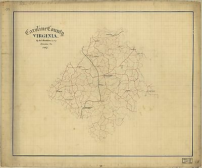 12x18 inch Reprint of American Cities Towns States Map Caroline County Virginia