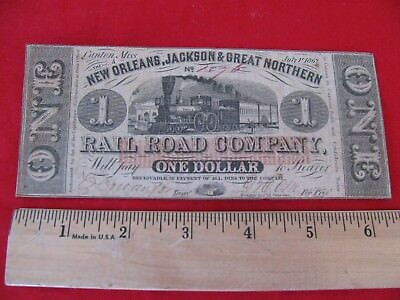 1862 New Orleans, Jackson & Great Northern Rail Road   $1.00