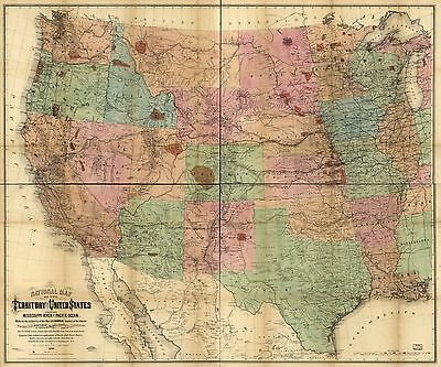 12x18 inch Reprint of American Map North USA Canada