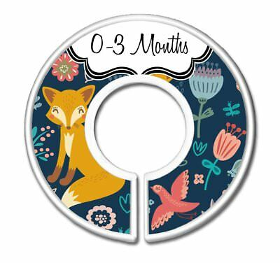 CarrieDee Handcrafted Nursery Closet Size Dividers, Girls Navy Fox Baby Clothes